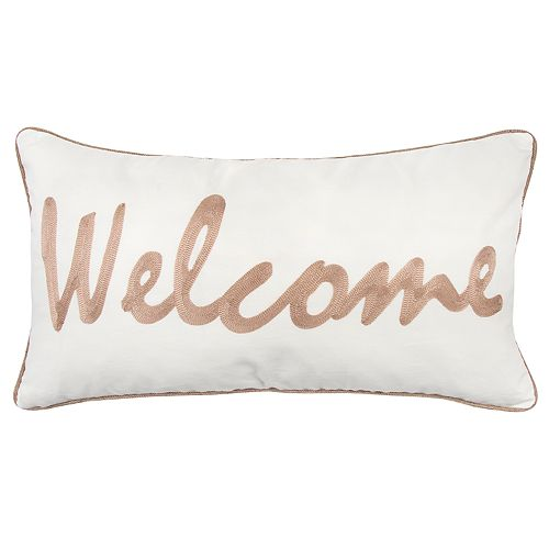 """Rizzy Home Brown """"Welcome"""" Contemporary Oblong Throw Pillow"""