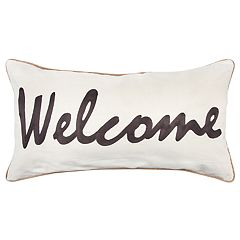 Rizzy Home Gray 'Welcome' Contemporary Oblong Throw Pillow