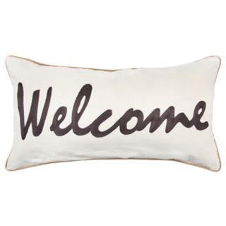 "Rizzy Home Gray ""Welcome"" Contemporary Oblong Throw Pillow"