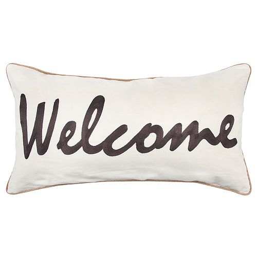 """Rizzy Home Gray """"Welcome"""" Contemporary Oblong Throw Pillow"""