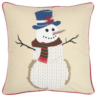 Rizzy Home Beige Snowman Contemporary Throw Pillow