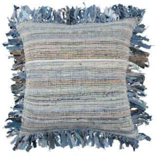 Rizzy Home Blue Textural Stripe Transitional Throw Pillow
