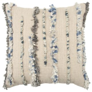 Rizzy Home Blue Vertical Stripe Transitional Throw Pillow