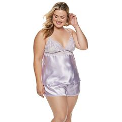 Plus Size Apt. 9® Satin Lace Cami & Shorts Pajama Set