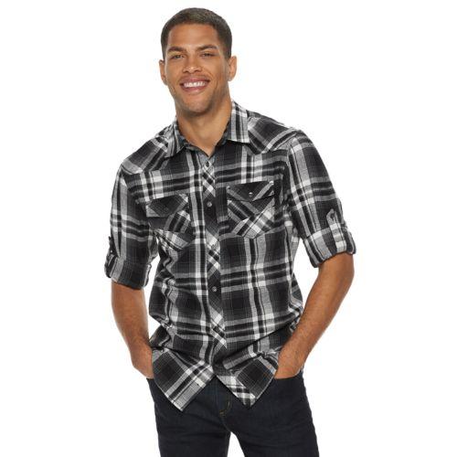Men's Rock &Amp; Republic Plaid Button Down Flannel Shirt by Kohl's