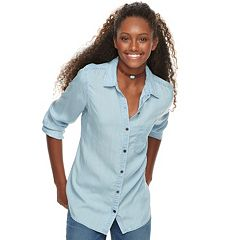 Juniors' SO® Chambray Button Down Shirt