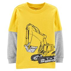 Toddler Boy Carter's Construction Truck Digger Mock Layered Graphic Tee