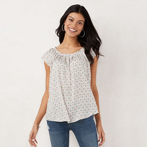 Petite LC Lauren Conrad Pleated Top