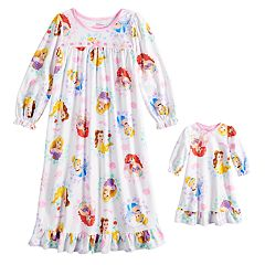 Disney Princess Toddler Girl Ariel, Rapunzel & Belle Nightgown & Doll Nightgown