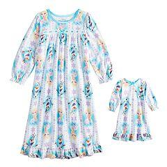 Disney's Frozen Toddler Girl Elsa & Olaf Nightgown & Doll Nightgown