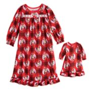 Disney's Minnie Mouse Toddler Girl Plaid Nightgown & Matching Doll Gown