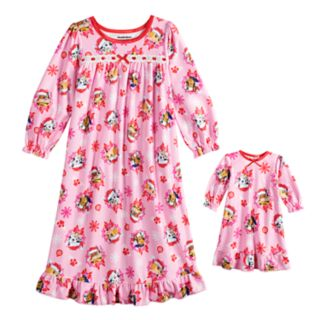 Toddler Girl Paw Patrol Skye, Chase, Marshall & Rubble Nightgown & Doll Nightgown
