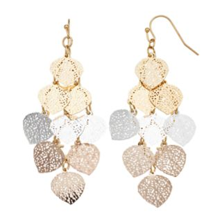 LC Lauren Conrad Tritone Filigree Dangle Earrings
