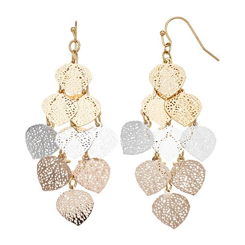 LC Lauren Conrad Tritone Filigree Dangle Earrings