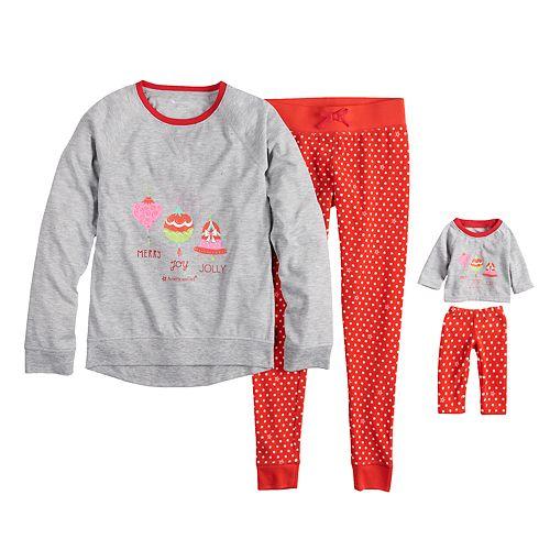 Girls 4-16 American Girl Holiday Top & Bottoms Pajama Set & Matching Doll Pajama Set