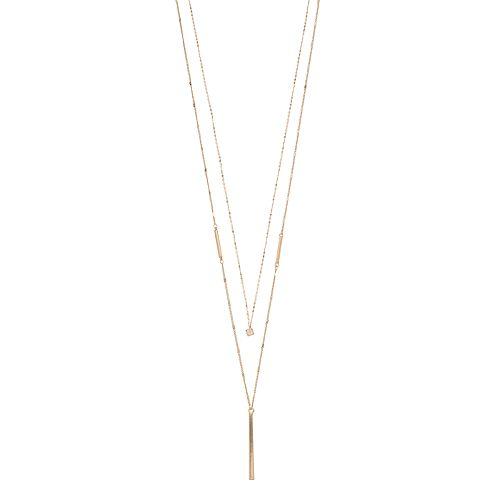 LC Lauren Conrad Double Strand Cube & Stick Pendant Necklace