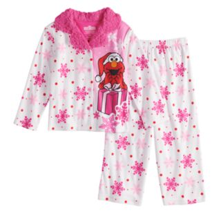 Toddler Girl Sesame Street Elmo Christmas Top & Bottoms Pajama Set