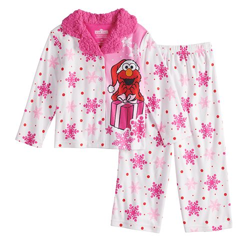 9b71836add Toddler Girl Sesame Street Elmo Christmas Top   Bottoms Pajama Set