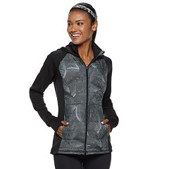 Women's FILA SPORT® Quilted Mixed-Media Hooded Jacket