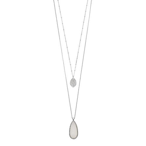 LC Lauren Conrad Long Teardrop & Leaf Layered Necklace