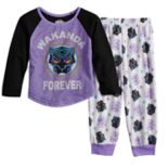 "Toddler Girl Marvel Black Panther ""Wakanda Forever"" Top & Bottoms Pajama Set"
