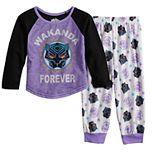 "Toddler Girl Marvel Black Panther ""Wakanda Forever"" Top & Bottoms Pajama Set"