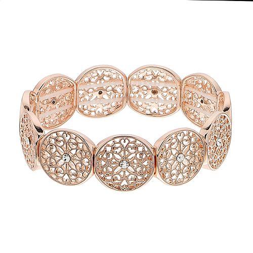LC Lauren Conrad Rose Gold Tone Filigree Bracelet