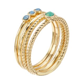 LC Lauren Conrad Blue & Green Simulated Stone Ring Set