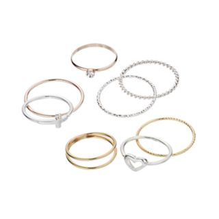 LC Lauren Conrad Heart & Sideways Cross Ring Set