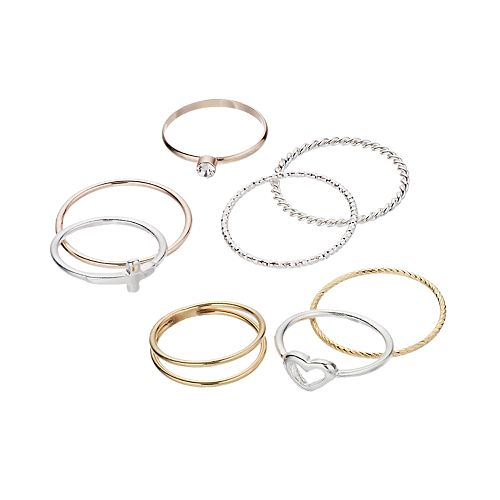 LC Lauren Conrad Heart & Sideways Cross Ring Set