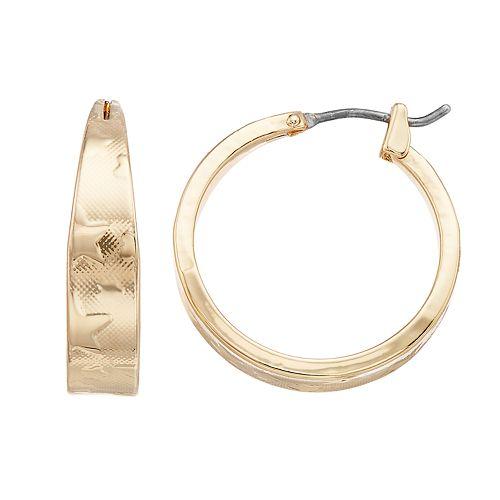 Dana Buchman Gold Tone Star Hoop Earrings
