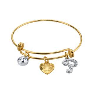 1928 Two Tone Crystal, Heart & Initial Charm Bangle Bracelet