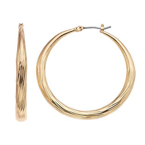 Dana Buchman Gold Tone Textured Hoop Earrings