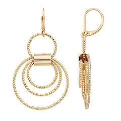 Dana Buchman Textured Hoop Drop Earrings