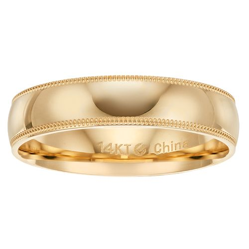 14k Gold 5 mm Comfort Fit Milgrain Men's Wedding Band