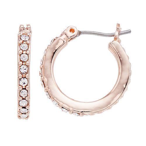 Dana Buchman Rose Gold Tone Cubic Zirconia Hoop Earrings