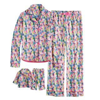 Girls 4-16 American Girl Holiday Button Top & Bottoms Pajama Set & Matching Doll Pajama Set