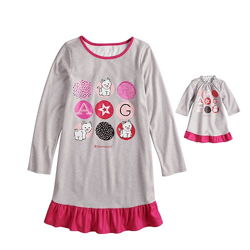 Girls 4-16 American Girl Ruffled Dorm Nightgown & Doll Nightgown Set