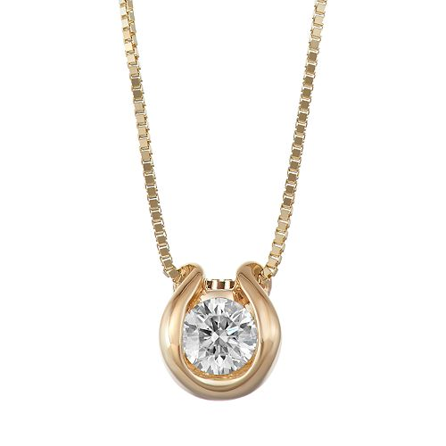 Sirena Collection 14k Gold 1/8 Carat T.W. Diamond Solitaire Pendant Necklace