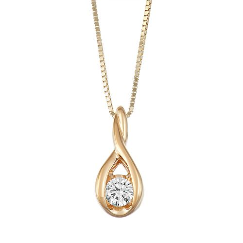 Sirena Collection 1/10 Carat T.W. Diamond 14k Gold Drop Pendant Necklace