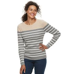 Women's Croft & Barrow® Essential Cable-Knit Crewneck Sweater