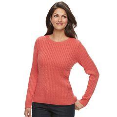 Women's Croft & Barrow® Essential Cable-Knit Crewneck Sweater