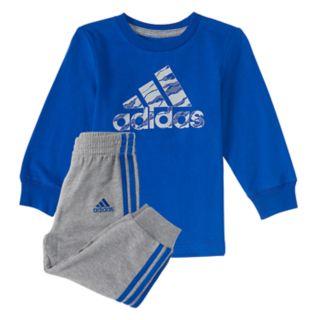 Toddler Boy adidas Logo Tee & Striped Jogger Pants
