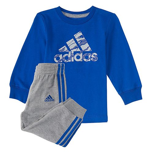 Toddler Boy adidas Logo Tee & Striped Jogger Pants