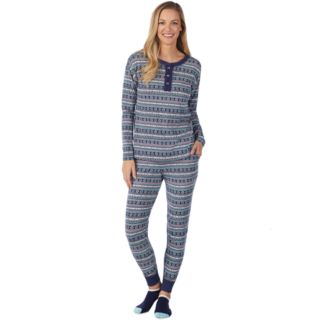 Women's Cuddl Duds Off Duty Cool Henley Tee & Joggers Pajama Set