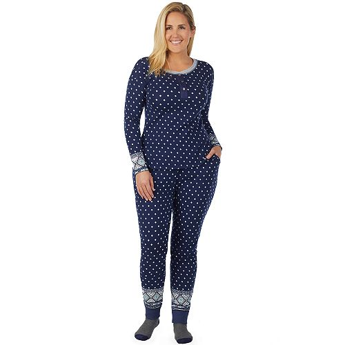 Plus Size Cuddl Duds Off Duty Cool Henley Tee & Joggers Pajama Set