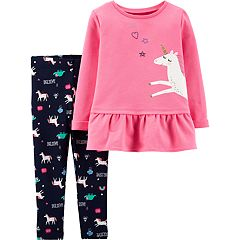 Toddler Girl Carter's Unicorn Peplum-Hem Sweatshirt & 'Believe' Leggings Set
