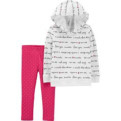 Toddler Girl Carter's Script Hoodie & Heart Leggings Set