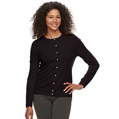 Women's Croft & Barrow® Essential Simulated-Pearl Button Cardigan