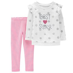 Toddler Girl Carter's Glittery Dot 'Best Sister' Sweatshirt & Striped Leggings Set